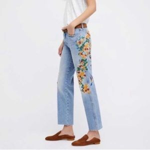 Free People Embroidered Girlfriend Jeans 27